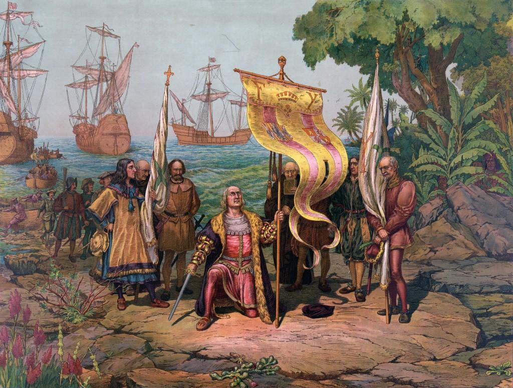 Կոլումբոսը հայտնաբերված երկիրը հայտարարում է թագավորի սեփականություն։ նկարը՝ wikipedia