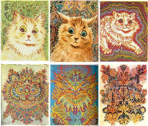 Անգլիացի արվեստագետ Լուի Ուեյնի (1860-1939)՝ կատուների նկարների շարքը հաճախ օգտագործվում է հոգեբանության դասագրքերում՝ շիզոֆրենիայի զարգացման փուլերը ցույց տալու համար: Նկարների ստեղծման հաջորդականությունը, սակայն, անհայտ է: Կա նաև վարկած, որ Ուեյնի մոտ իրականում ոչ թե շիզոֆրենիա է եղել, այլ Ասպերգերի համախտանիշ: [Թարգմանչի ծանոթագրություն]